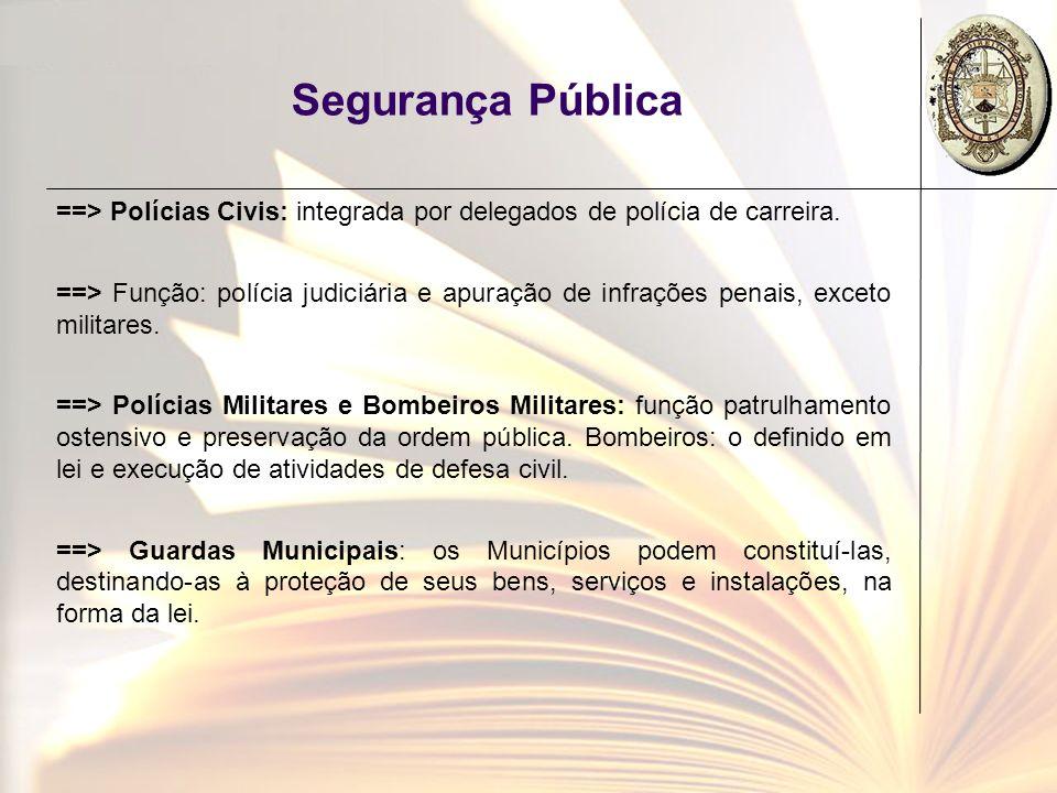 Segurança Pública ==> Polícias Civis: integrada por delegados de polícia de carreira.