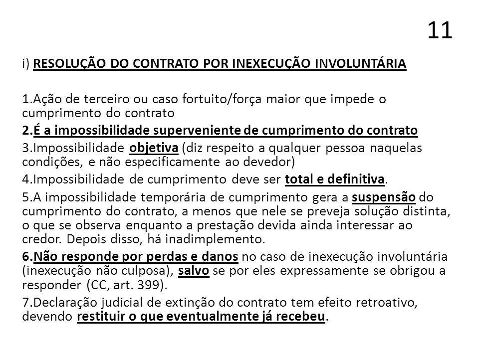 11 i) RESOLUÇÃO DO CONTRATO POR INEXECUÇÃO INVOLUNTÁRIA