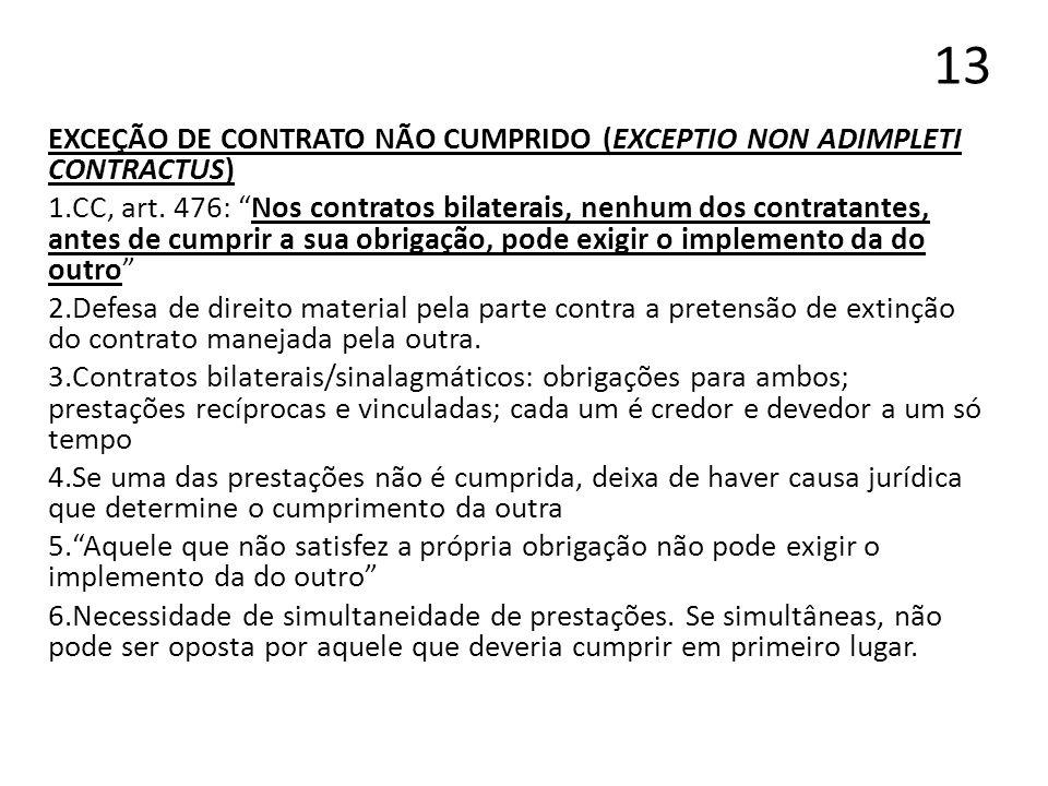 13 EXCEÇÃO DE CONTRATO NÃO CUMPRIDO (EXCEPTIO NON ADIMPLETI CONTRACTUS)