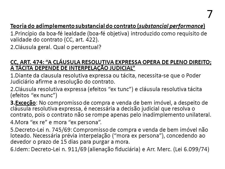 7Teoria do adimplemento substancial do contrato (substancial performance)