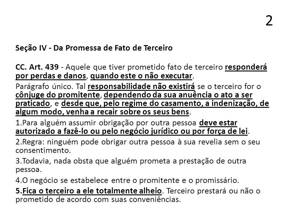 2 Seção IV - Da Promessa de Fato de Terceiro