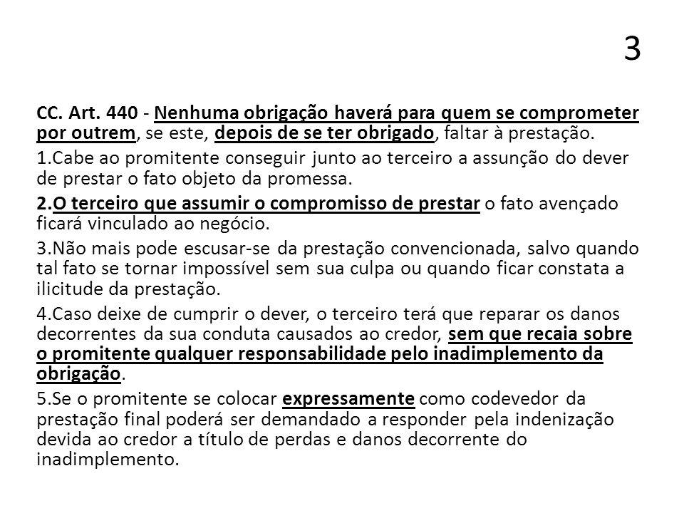 3CC. Art. 440 - Nenhuma obrigação haverá para quem se comprometer por outrem, se este, depois de se ter obrigado, faltar à prestação.