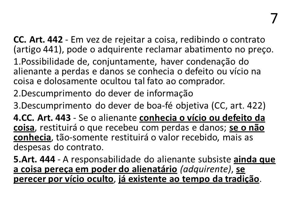 7 CC. Art. 442 - Em vez de rejeitar a coisa, redibindo o contrato (artigo 441), pode o adquirente reclamar abatimento no preço.