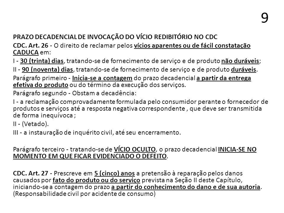 9 PRAZO DECADENCIAL DE INVOCAÇÃO DO VÍCIO REDIBITÓRIO NO CDC