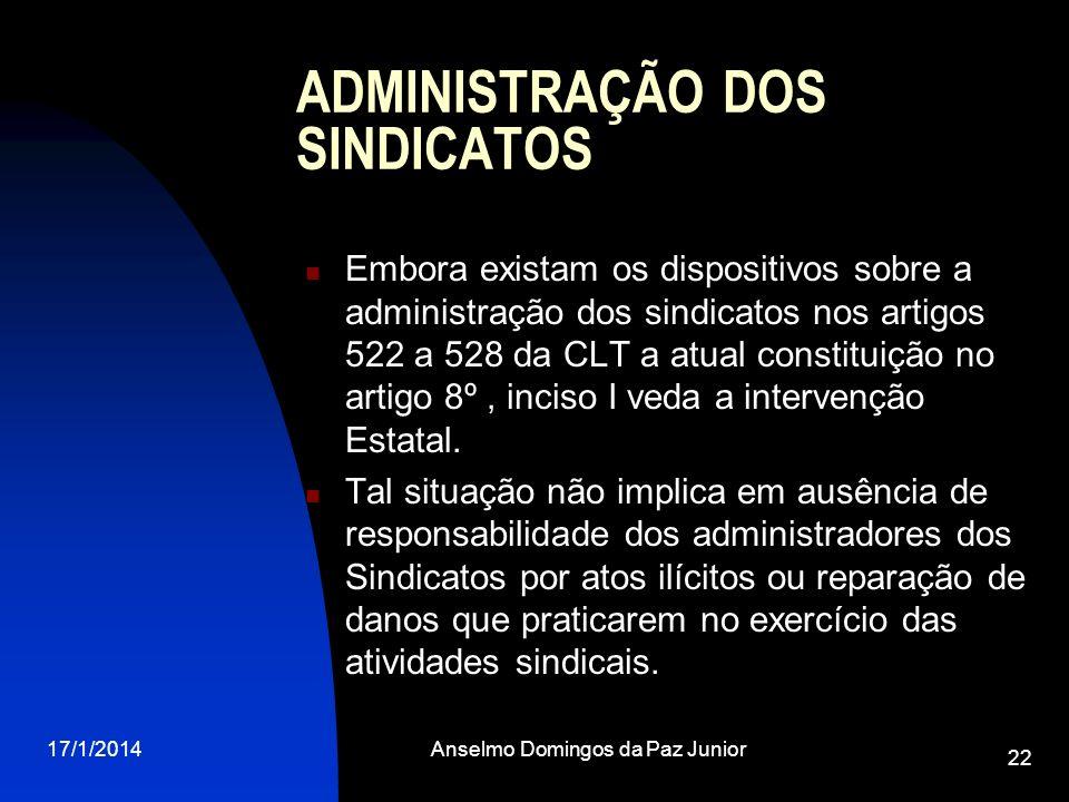 ADMINISTRAÇÃO DOS SINDICATOS