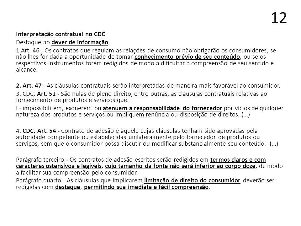 12 Interpretação contratual no CDC Destaque ao dever de informação