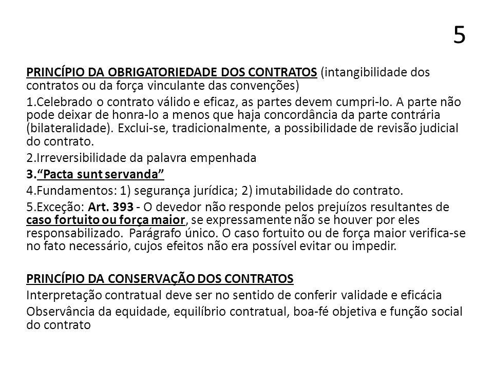 5 PRINCÍPIO DA OBRIGATORIEDADE DOS CONTRATOS (intangibilidade dos contratos ou da força vinculante das convenções)