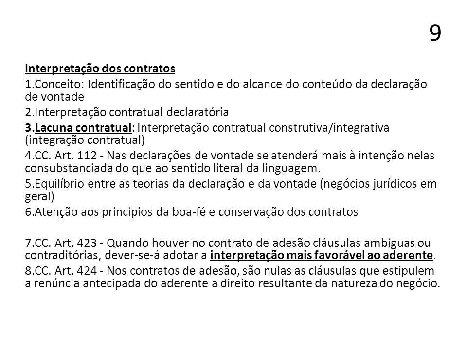 9 Interpretação dos contratos