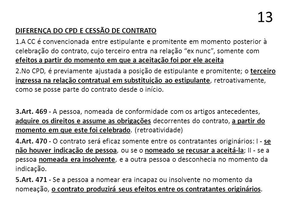 13 DIFERENÇA DO CPD E CESSÃO DE CONTRATO