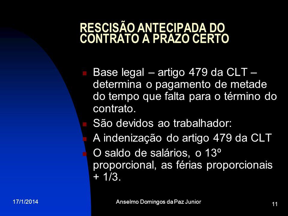 RESCISÃO ANTECIPADA DO CONTRATO A PRAZO CERTO