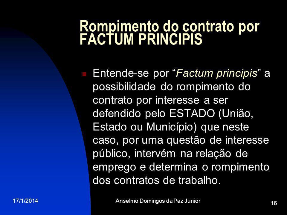 Rompimento do contrato por FACTUM PRINCIPIS