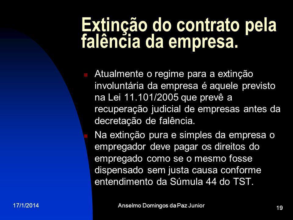 Extinção do contrato pela falência da empresa.