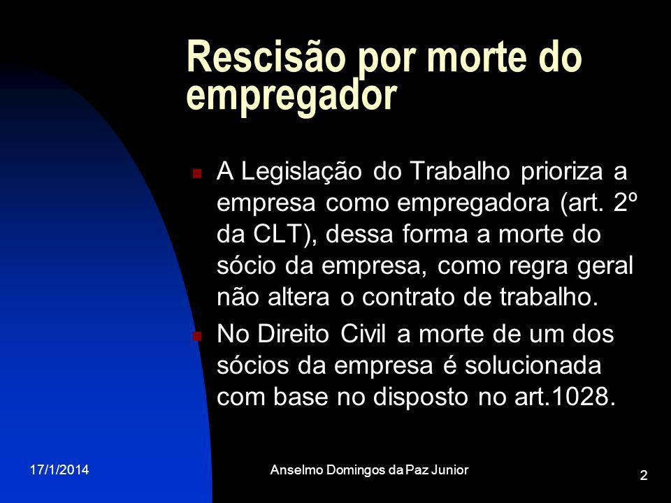 Rescisão por morte do empregador