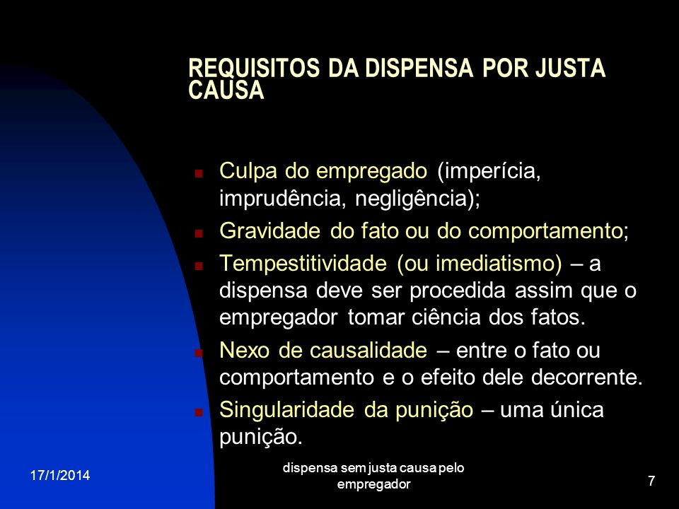 REQUISITOS DA DISPENSA POR JUSTA CAUSA