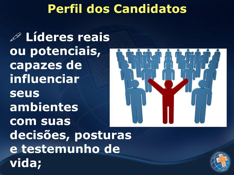 Perfil dos Candidatos Líderes reais. ou potenciais, capazes de influenciar.
