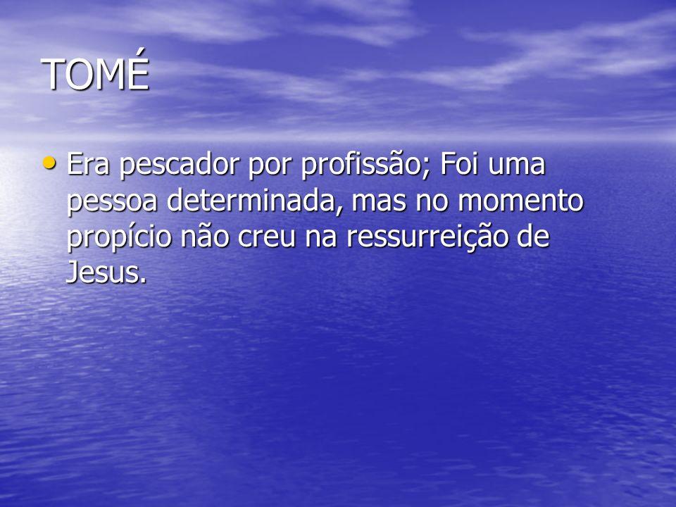 TOMÉEra pescador por profissão; Foi uma pessoa determinada, mas no momento propício não creu na ressurreição de Jesus.