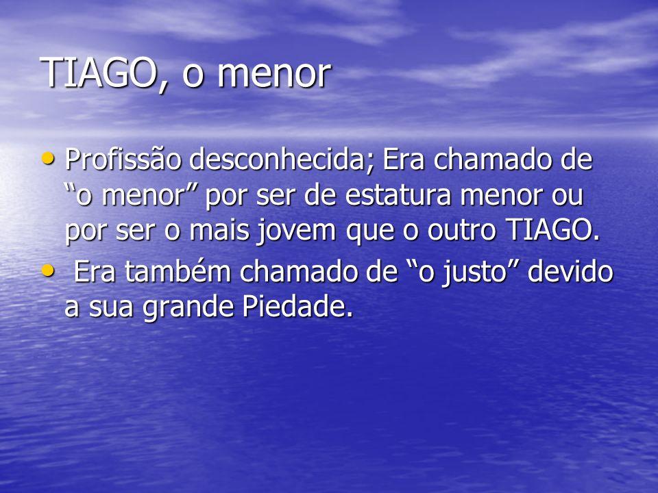 TIAGO, o menor Profissão desconhecida; Era chamado de o menor por ser de estatura menor ou por ser o mais jovem que o outro TIAGO.
