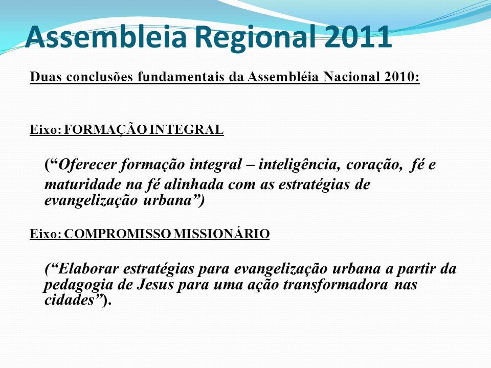 Assembleia Regional 2011 Duas conclusões fundamentais da Assembléia Nacional 2010: Eixo: FORMAÇÃO INTEGRAL.