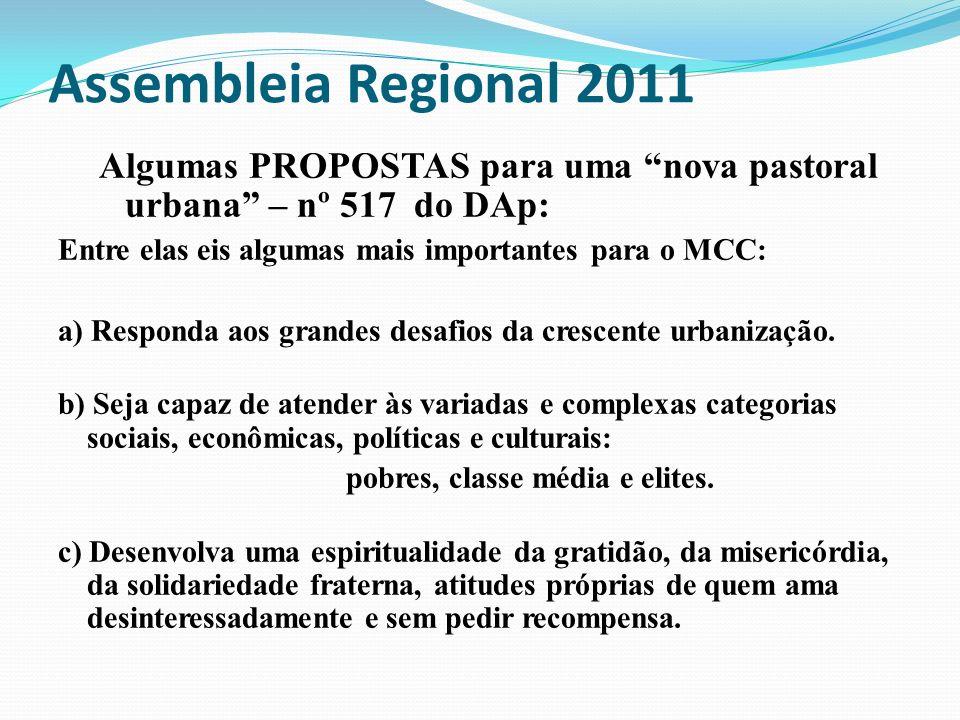 Assembleia Regional 2011 Algumas PROPOSTAS para uma nova pastoral urbana – nº 517 do DAp: Entre elas eis algumas mais importantes para o MCC: