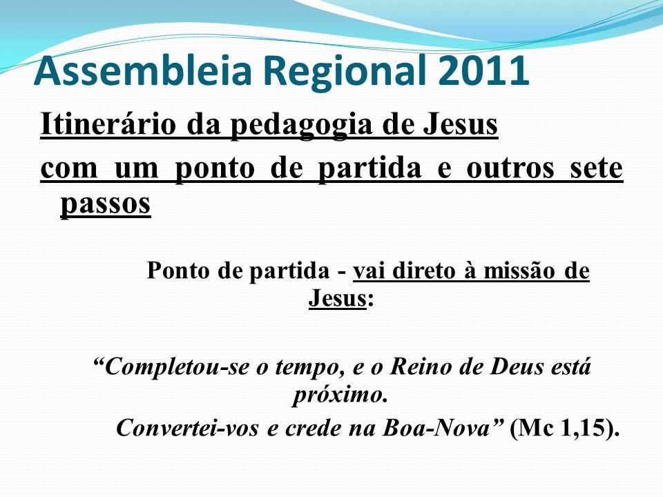 Assembleia Regional 2011 Itinerário da pedagogia de Jesus
