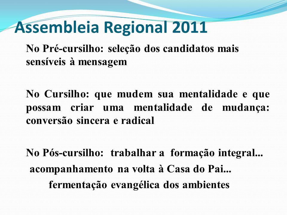 Assembleia Regional 2011 No Pré-cursilho: seleção dos candidatos mais sensíveis à mensagem.