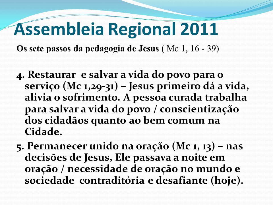Assembleia Regional 2011 Os sete passos da pedagogia de Jesus ( Mc 1, 16 - 39)