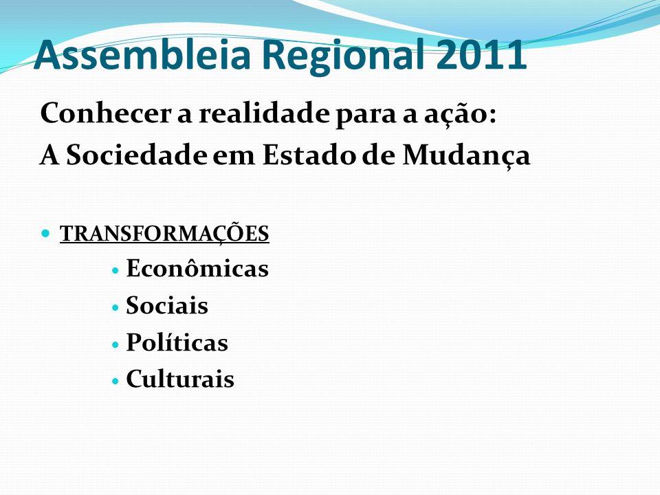 Assembleia Regional 2011 Conhecer a realidade para a ação: