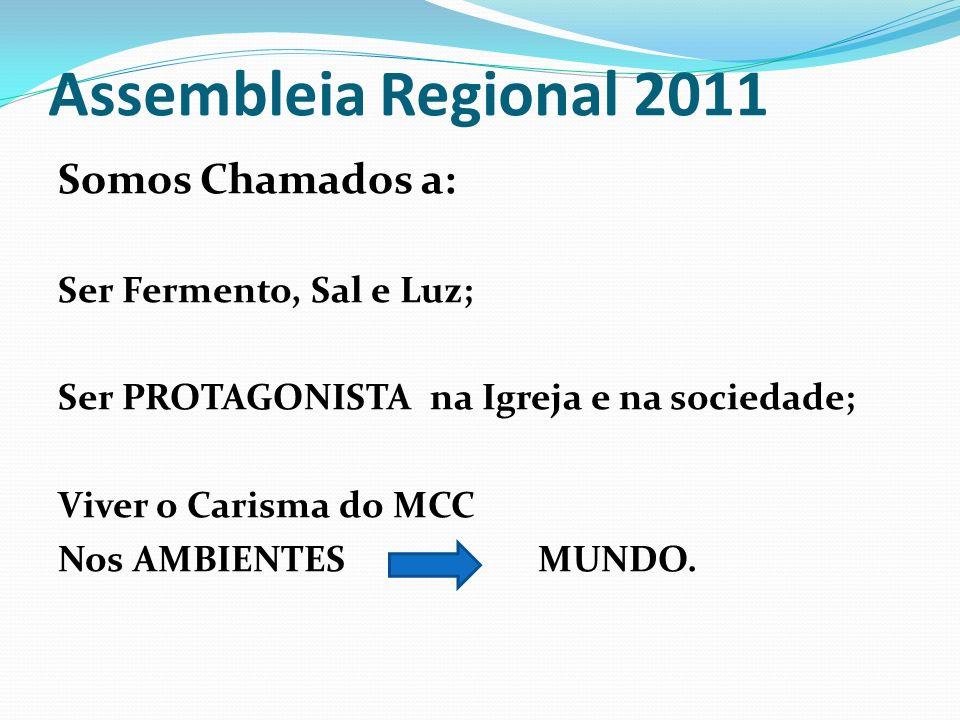 Assembleia Regional 2011 Somos Chamados a: Ser Fermento, Sal e Luz;