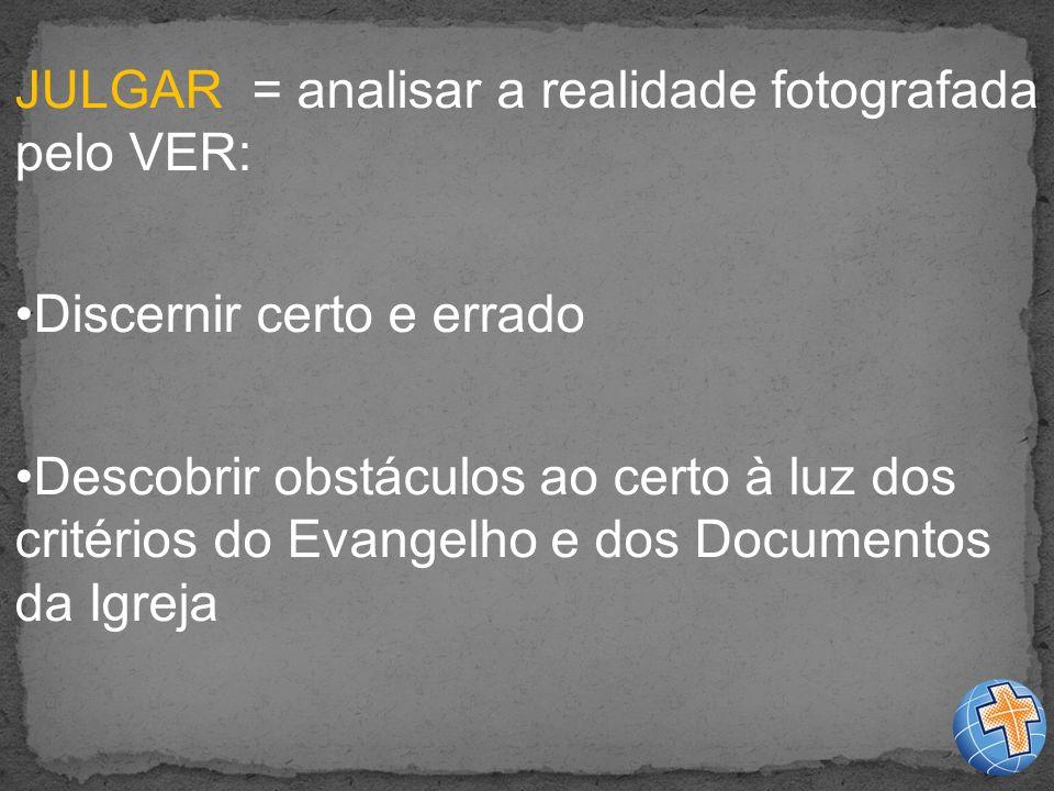 JULGAR = analisar a realidade fotografada pelo VER: