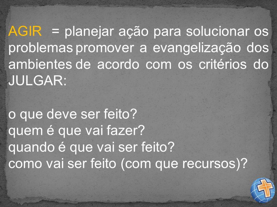 AGIR = planejar ação para solucionar os problemas promover a evangelização dos ambientes de acordo com os critérios do JULGAR: