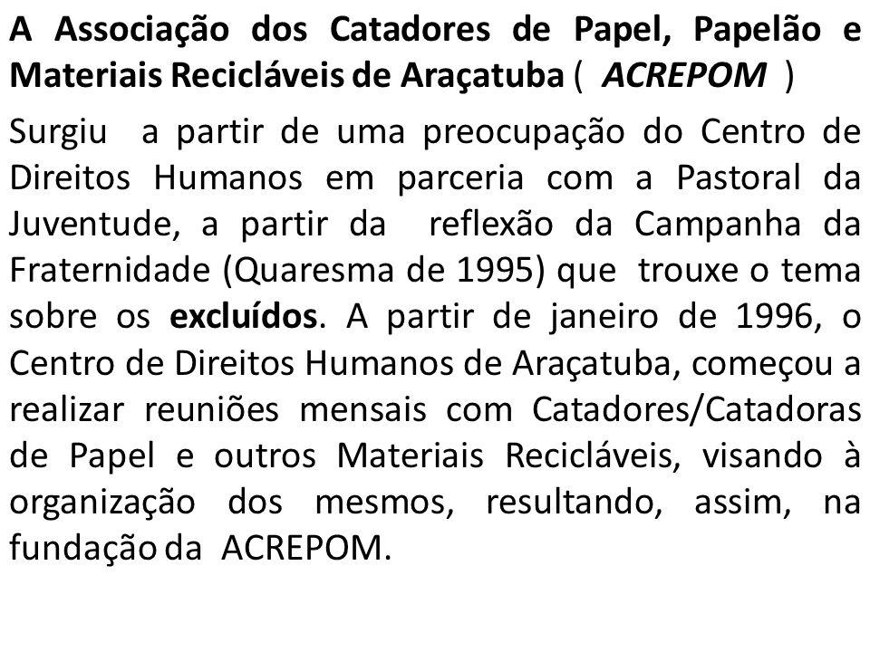 A Associação dos Catadores de Papel, Papelão e Materiais Recicláveis de Araçatuba ( ACREPOM )