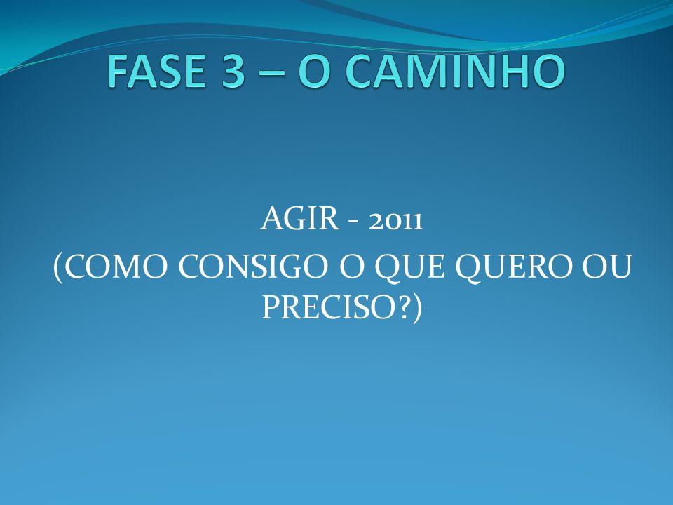 AGIR - 2011 (COMO CONSIGO O QUE QUERO OU PRECISO )