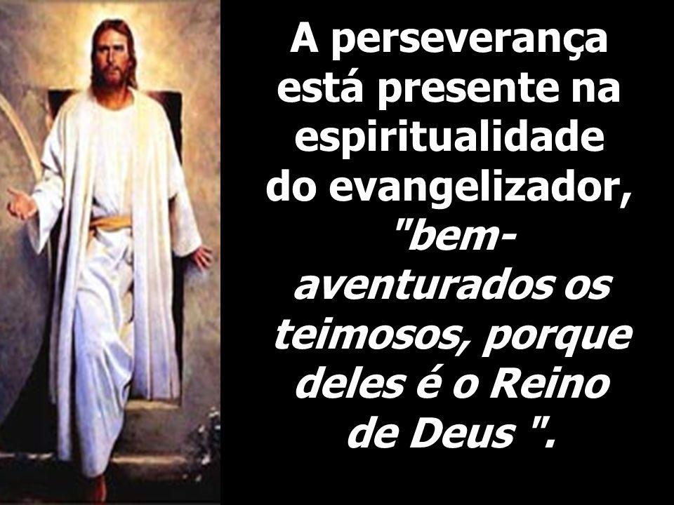 A perseverança está presente na espiritualidade do evangelizador, bem-aventurados os teimosos, porque deles é o Reino de Deus .