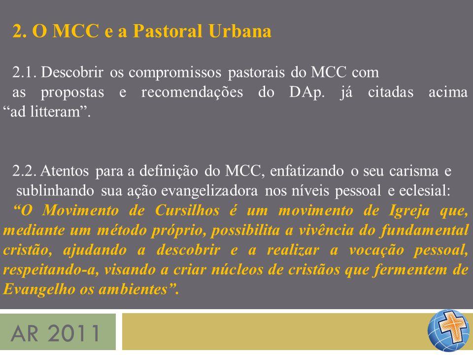 AR 2011 2. O MCC e a Pastoral Urbana