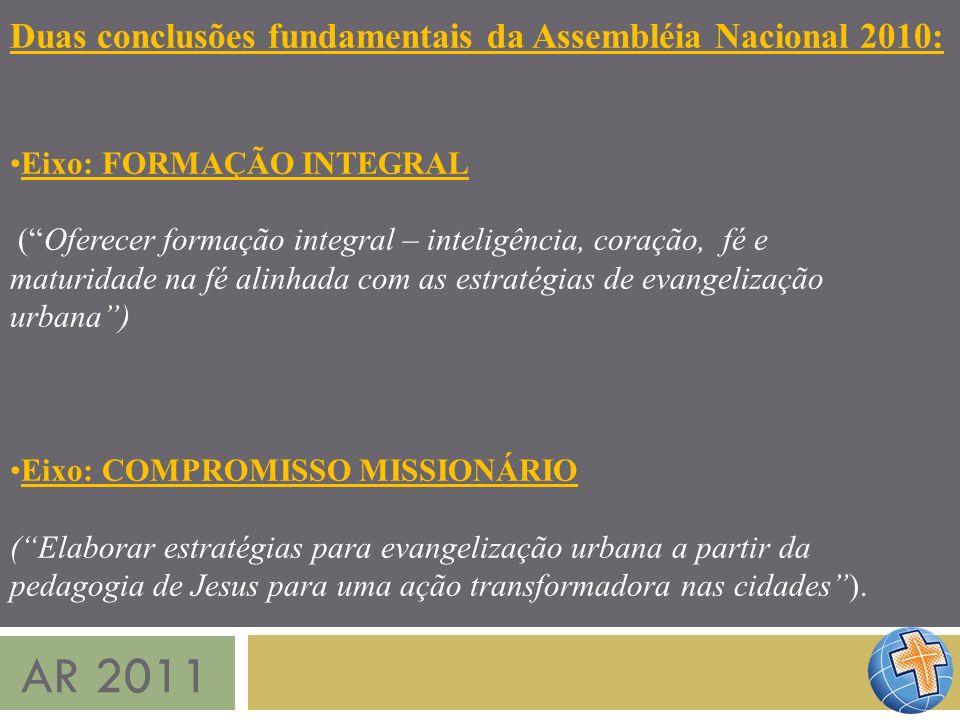 AR 2011 Duas conclusões fundamentais da Assembléia Nacional 2010: