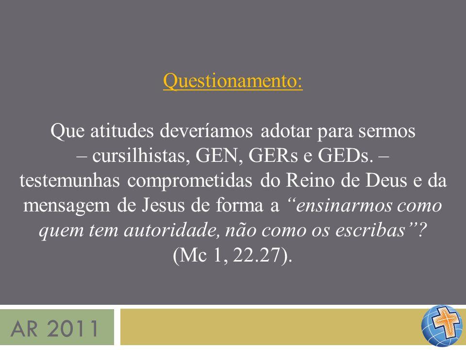 AR 2011 Questionamento: Que atitudes deveríamos adotar para sermos