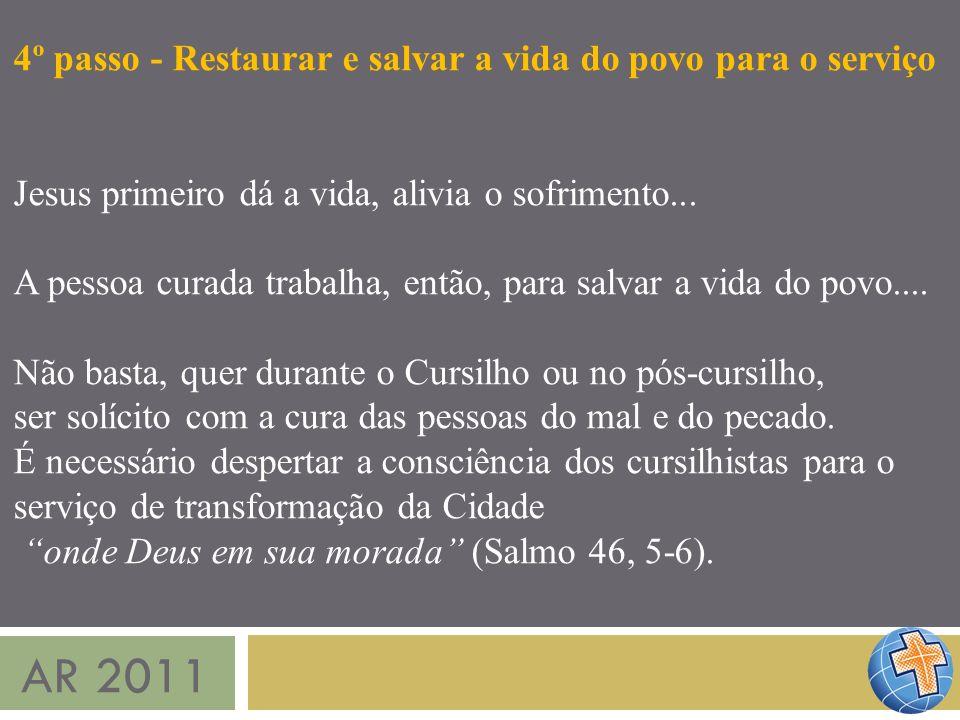 AR 2011 4º passo - Restaurar e salvar a vida do povo para o serviço