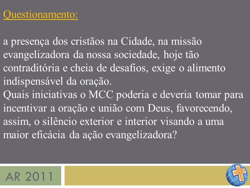 AR 2011 Questionamento: a presença dos cristãos na Cidade, na missão