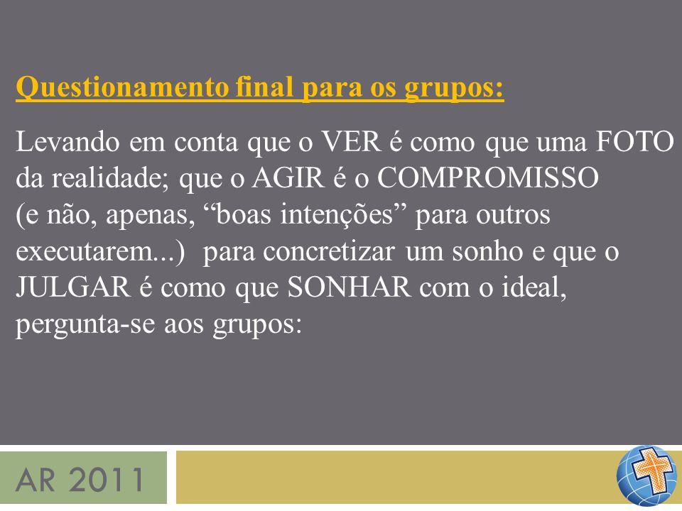 AR 2011 Questionamento final para os grupos: