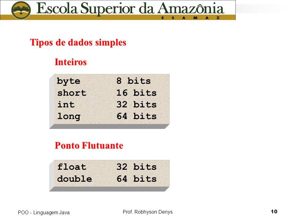 Tipos de dados simples Inteiros byte 8 bits short 16 bits int 32 bits