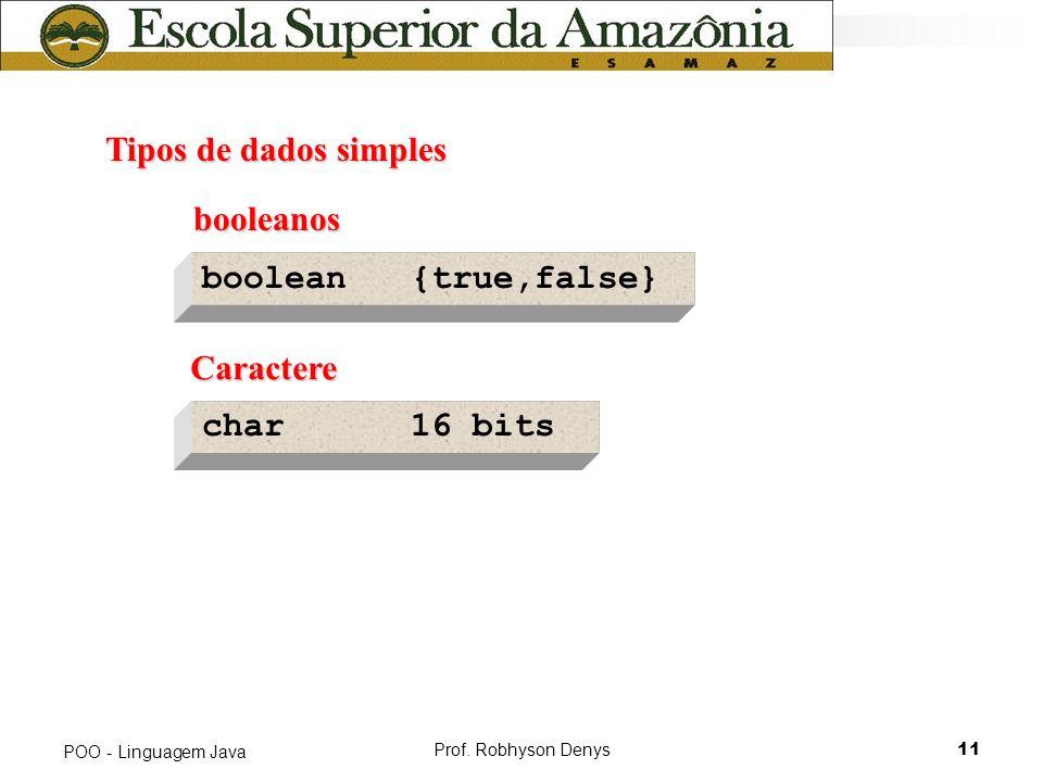 Tipos de dados simples booleanos boolean {true,false} Caractere