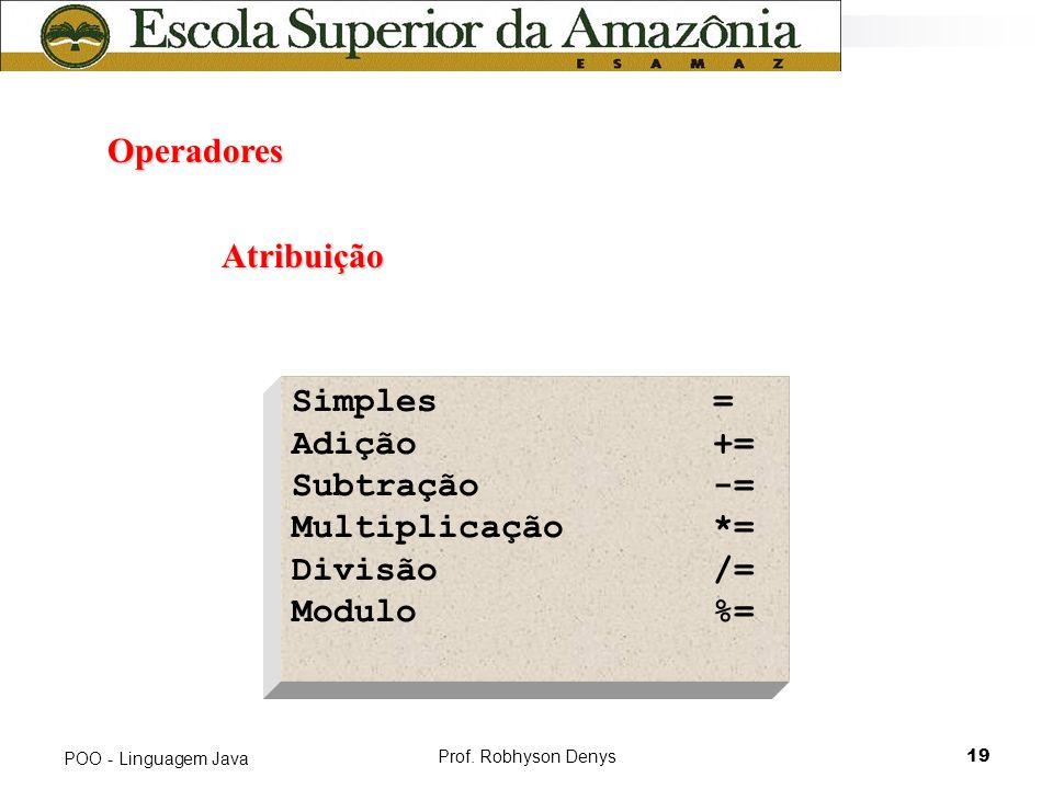 Operadores Atribuição Simples = Adição += Subtração -=