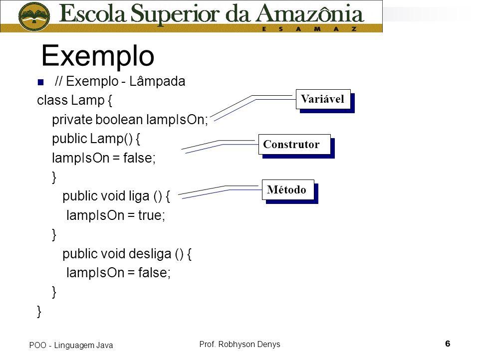 Exemplo // Exemplo - Lâmpada class Lamp { private boolean lampIsOn;
