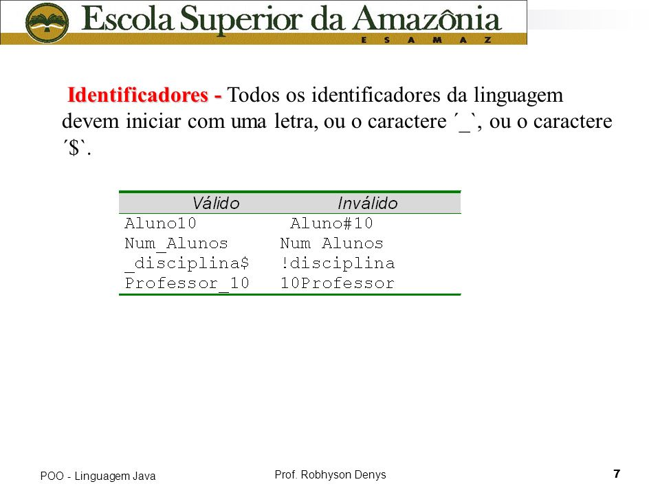 Identificadores - Todos os identificadores da linguagem devem iniciar com uma letra, ou o caractere ´_`, ou o caractere ´$`.