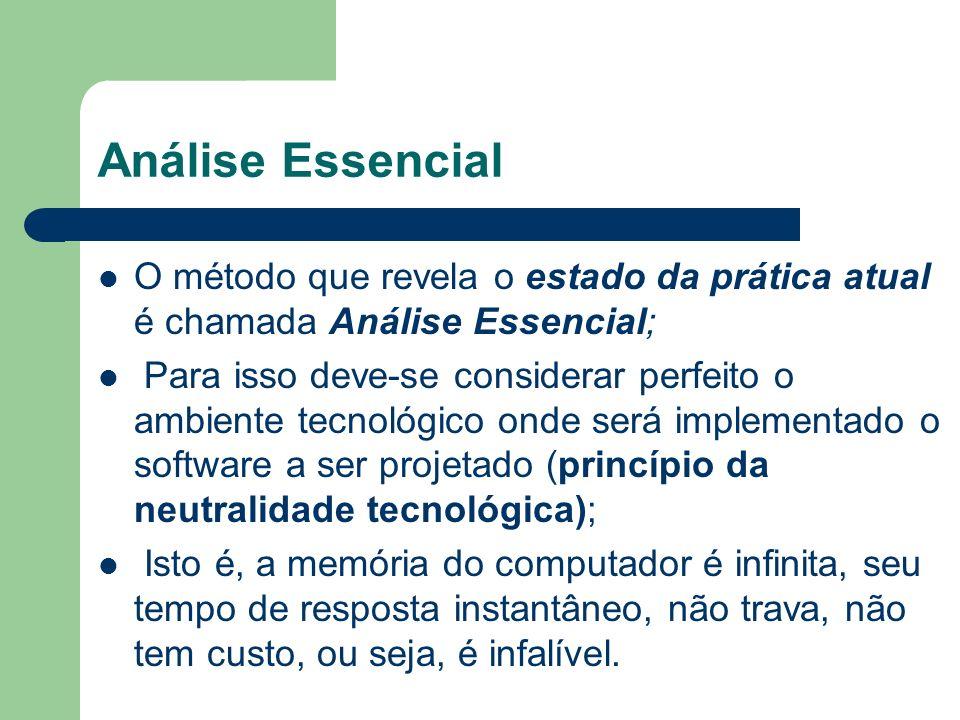 Análise Essencial O método que revela o estado da prática atual é chamada Análise Essencial;