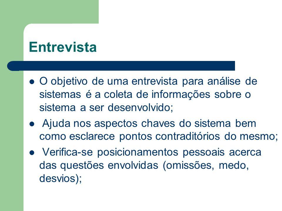 Entrevista O objetivo de uma entrevista para análise de sistemas é a coleta de informações sobre o sistema a ser desenvolvido;