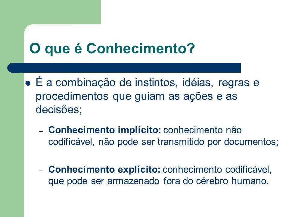 O que é Conhecimento É a combinação de instintos, idéias, regras e procedimentos que guiam as ações e as decisões;