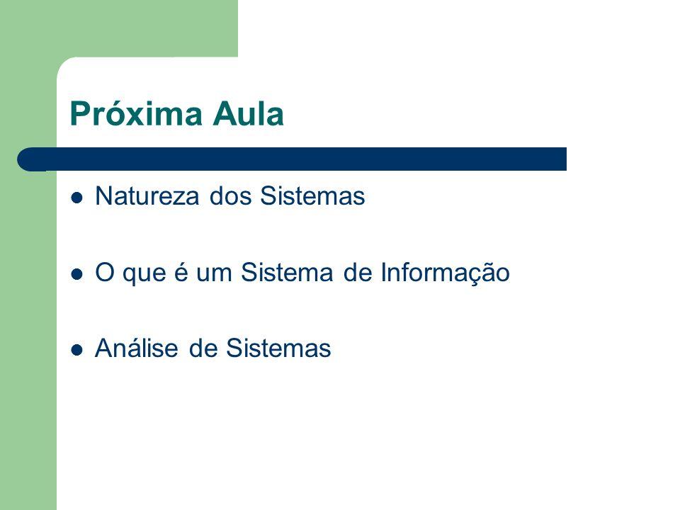 Próxima Aula Natureza dos Sistemas O que é um Sistema de Informação