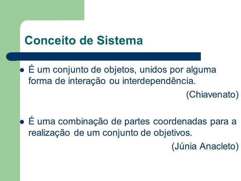 Conceito de Sistema É um conjunto de objetos, unidos por alguma forma de interação ou interdependência.