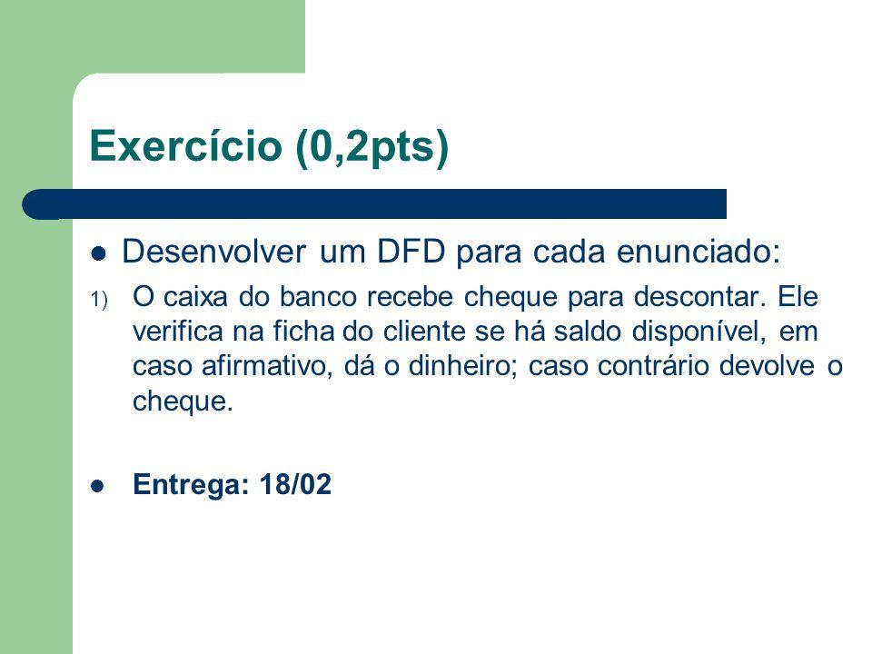 Exercício (0,2pts) Desenvolver um DFD para cada enunciado:
